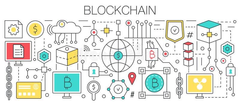 Linha lisa projeto do molde do conceito de Blockchain do vetor Depositando a tecnologia do pagamento da finança usando o cryptocu ilustração royalty free