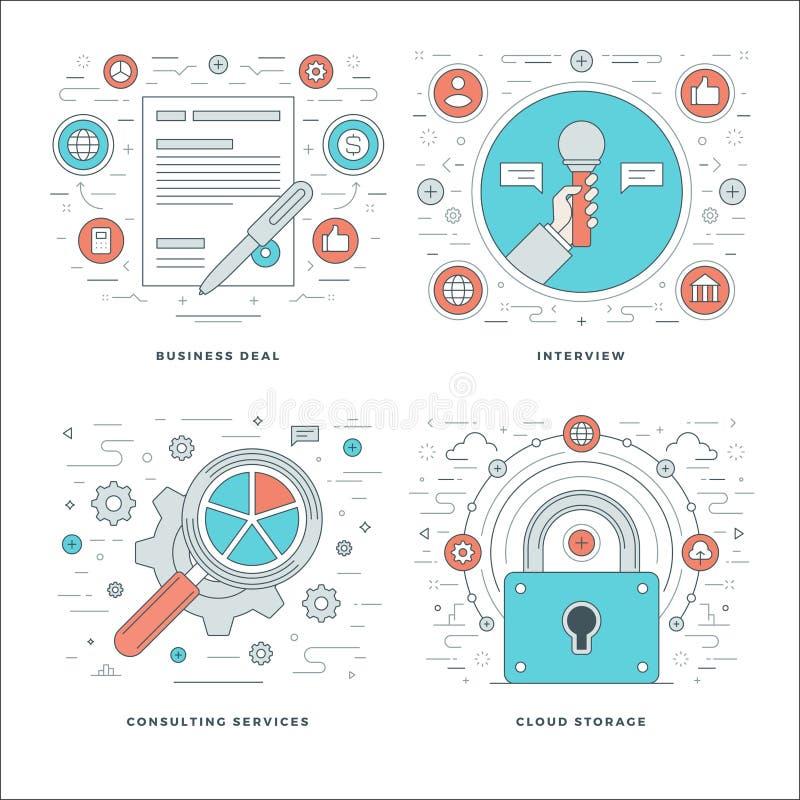A linha lisa que consulta, entrevista, armazenamento de dados, conceitos do contrato do negócio ajustou ilustrações do vetor ilustração do vetor