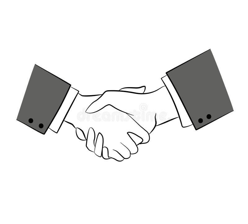 Linha lisa s?mbolo de Minimalistic da parceria da amizade do aperto de m?o do pictograma do ?cone do curso do esbo?o ilustração stock