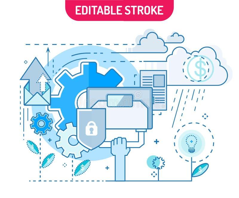 Linha lisa Startup conceito Sumário da ideia do negócio da inovação infographic Linha lisa moderna composição do projeto Vetor Il ilustração royalty free