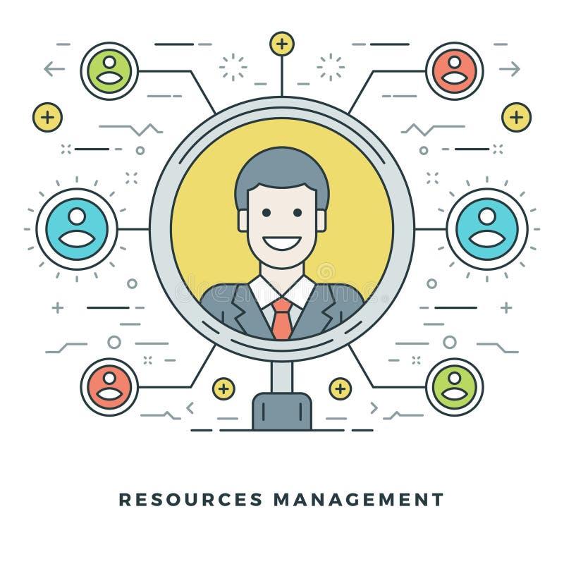 Linha lisa Team Building e conceito da gestão de recursos Ilustração do vetor ilustração stock