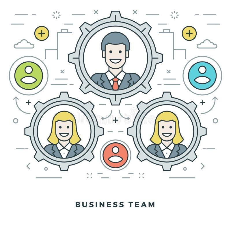 Linha lisa Team Building e gestão Ilustração do vetor Ícones lineares finos modernos do vetor do curso ilustração stock