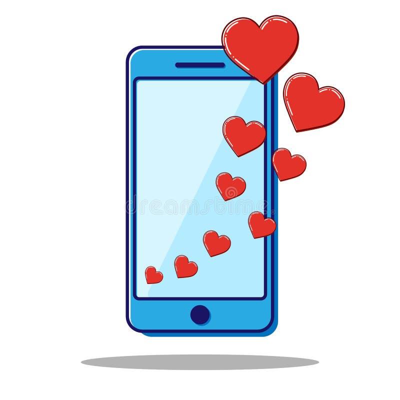 Linha lisa telefone com corações, presente do ícone do Valentim Vetor ilustração royalty free