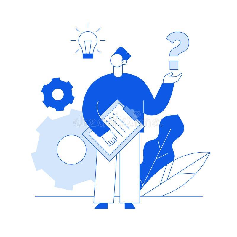 Linha lisa trabalhos de equipe do vetor do negócio do estilo e conceito de projeto da ideia com a pessoa moderna grande, ampola,  ilustração stock