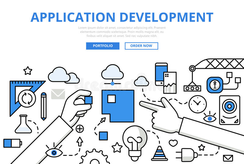 Linha lisa vetor do conceito do desenvolvimento do app da aplicação da arte ilustração stock