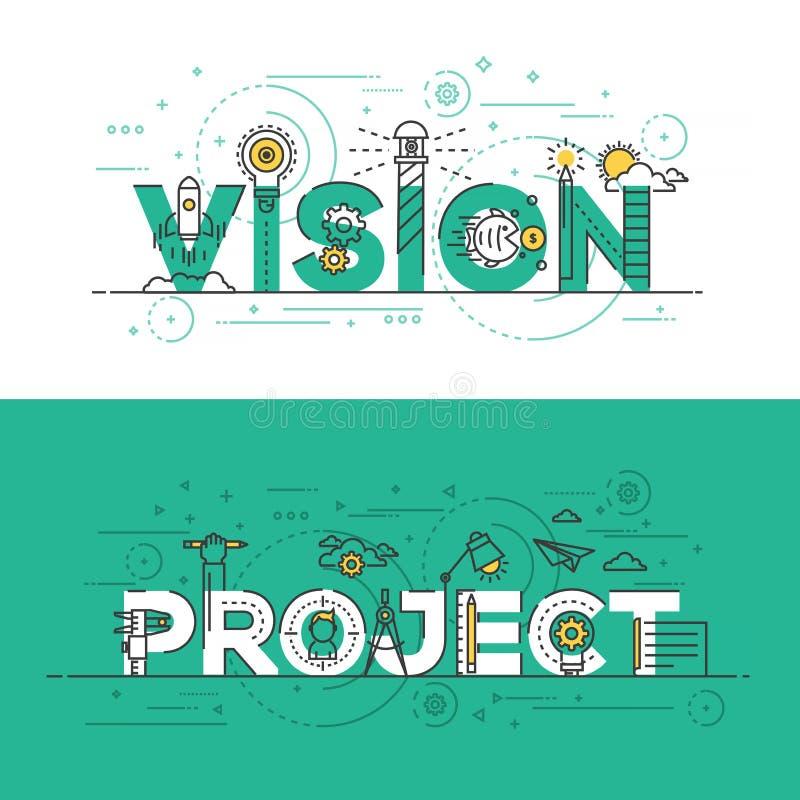 Linha lisa visão e projeto do projeto da bandeira do conceito