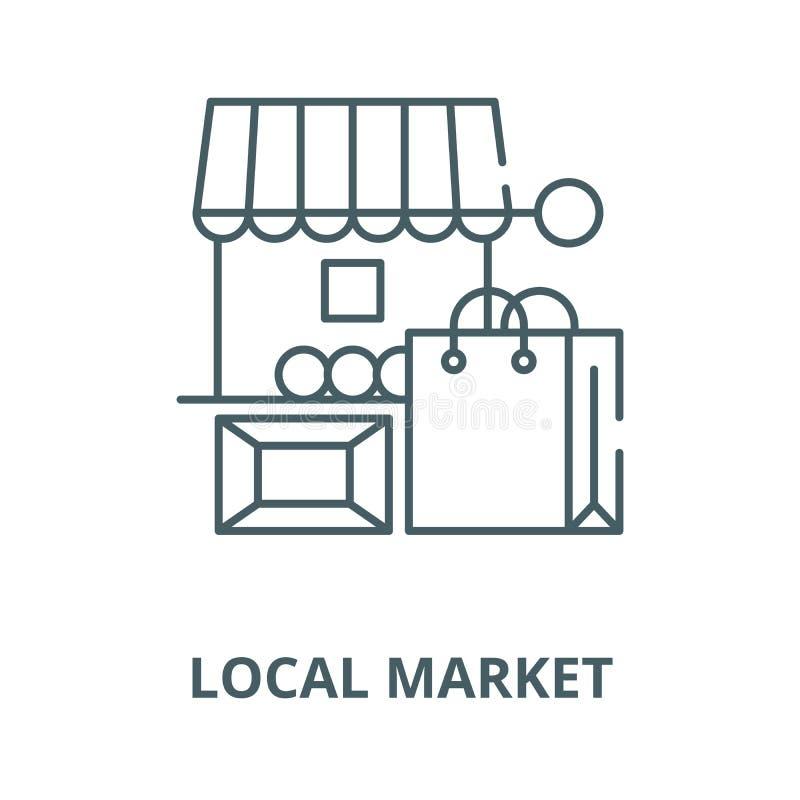 Linha local ícone do vetor do mercado, conceito linear, sinal do esboço, símbolo ilustração royalty free