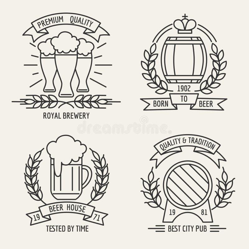 Linha logotipo da cerveja ilustração royalty free