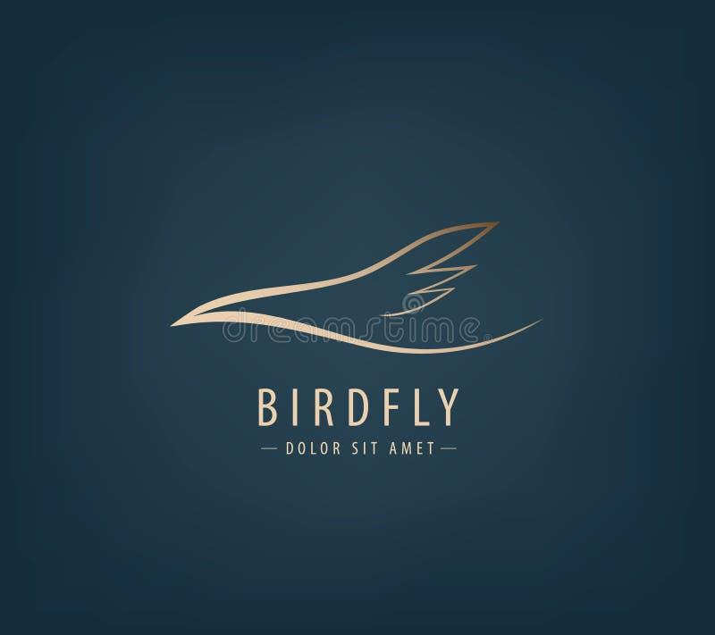 Linha logotipo do vetor do pássaro, abstrato ilustração stock