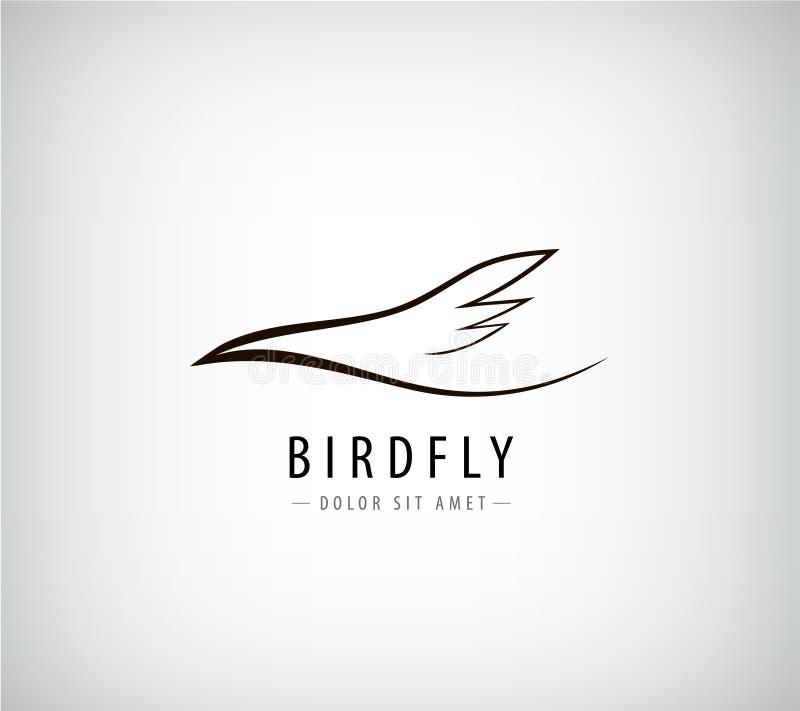 Linha logotipo do vetor do pássaro, abstrato ilustração royalty free