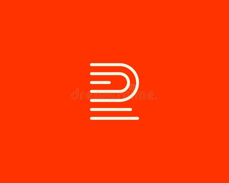 Linha logotype da letra f Projeto pairoso movente abstrato do ícone do logotipo, sinal criativo do vetor da impressão digital do  ilustração royalty free