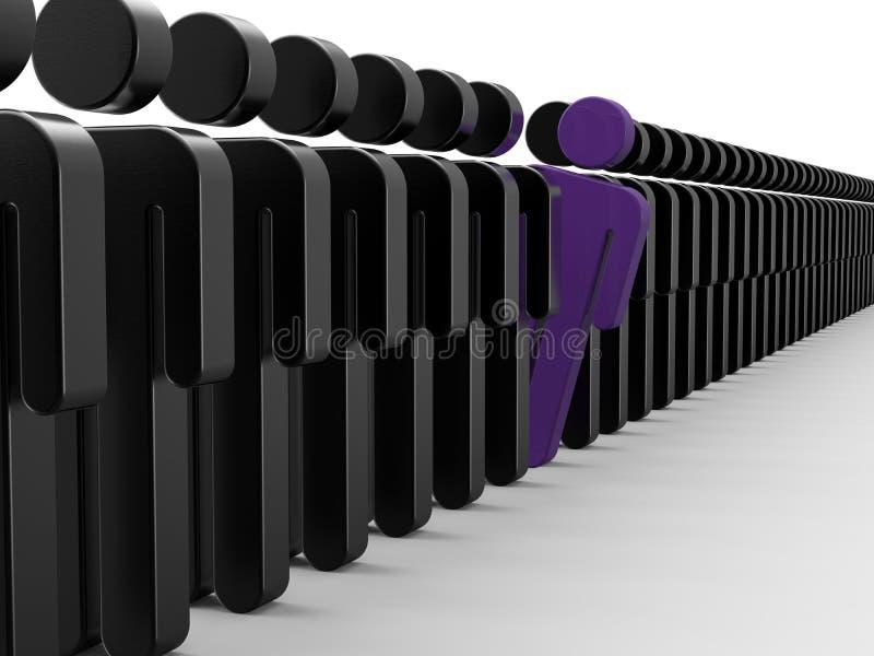 Linha longa da fila ilustração stock