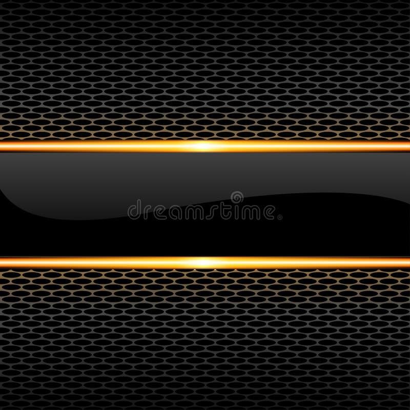 Linha lustrosa preta abstrata do ouro da bandeira no vetor luxuoso do fundo do projeto do teste padrão da malha do favo de mel ilustração do vetor