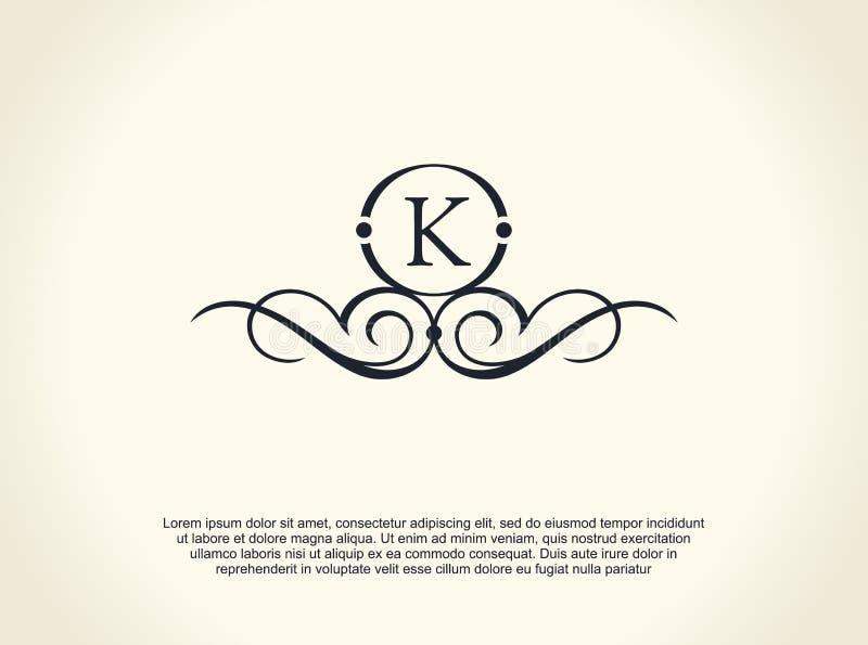 Linha luxuosa caligráfica logotipo Floresce o monograma elegante do emblema Projeto real do divisor do vintage ilustração stock