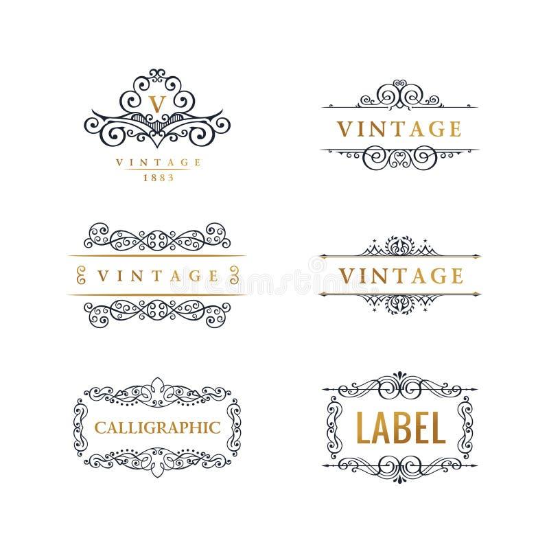 Linha luxuosa caligráfica logotipo Floresce o monograma elegante do emblema Projeto real do divisor do vintage ilustração royalty free