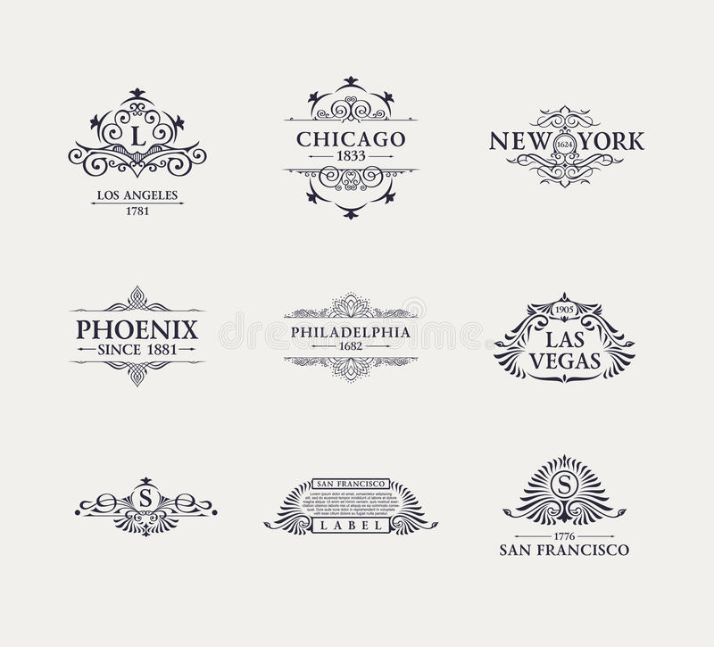 Linha luxuosa caligráfica logotipo Floresce o monograma elegante do emblema Projeto real do divisor do vintage ilustração do vetor