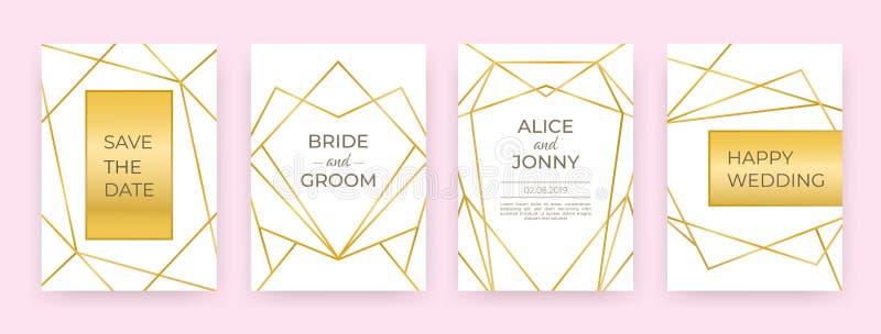 Linha luxuosa cartazes do casamento As beiras douradas da forma projetam, decoração abstrata dos cartões modernos do convite Veto ilustração royalty free