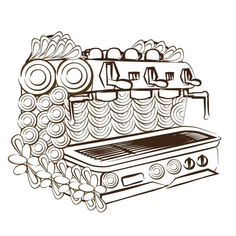 Linha máquina do café da página da coloração do projeto da arte imagem de stock royalty free