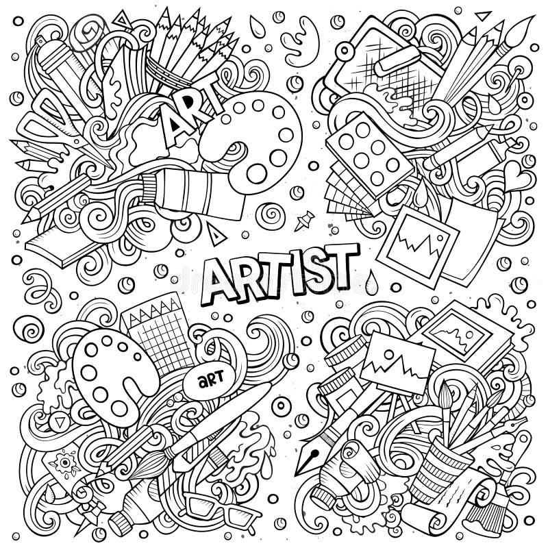 A linha mão do vetor da arte tirada rabisca o grupo dos desenhos animados de combinações do artista de objetos ilustração stock