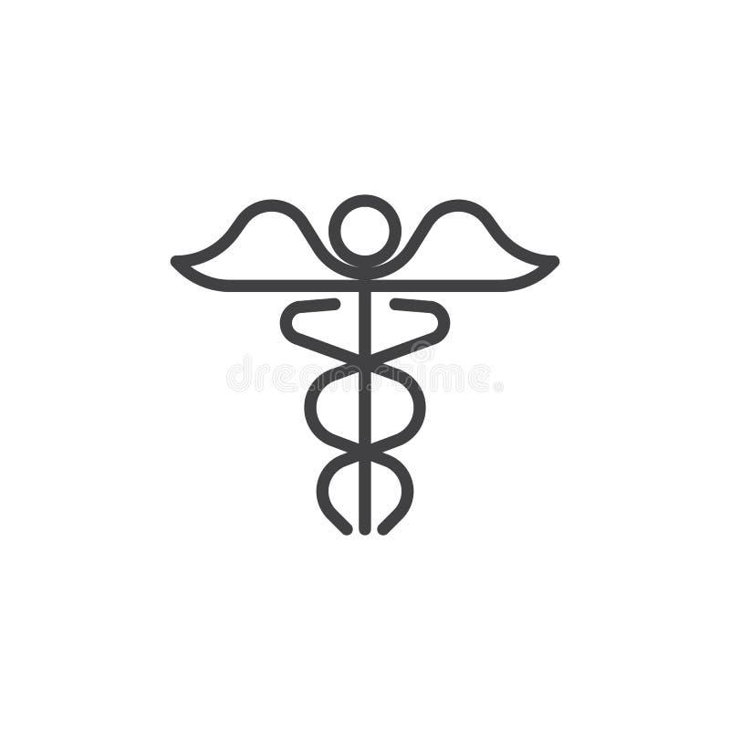 Linha médica ícone do caduceus ilustração royalty free