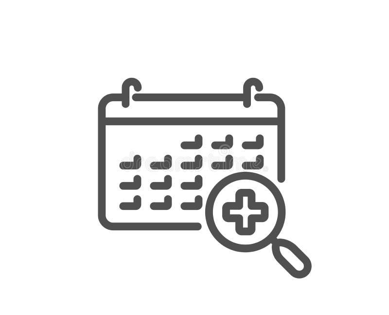 Linha médica ícone do calendário Sinal da nomeação do doutor Vetor ilustração royalty free