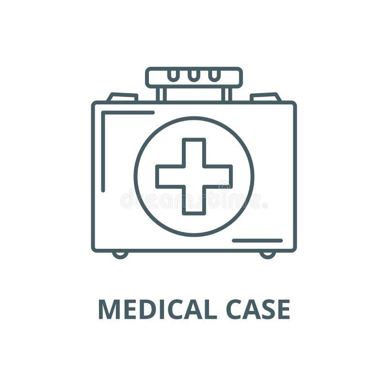 Linha médica ícone do vetor do caso, conceito linear, sinal do esboço, símbolo ilustração stock