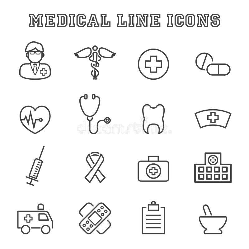 Linha médica ícones ilustração royalty free