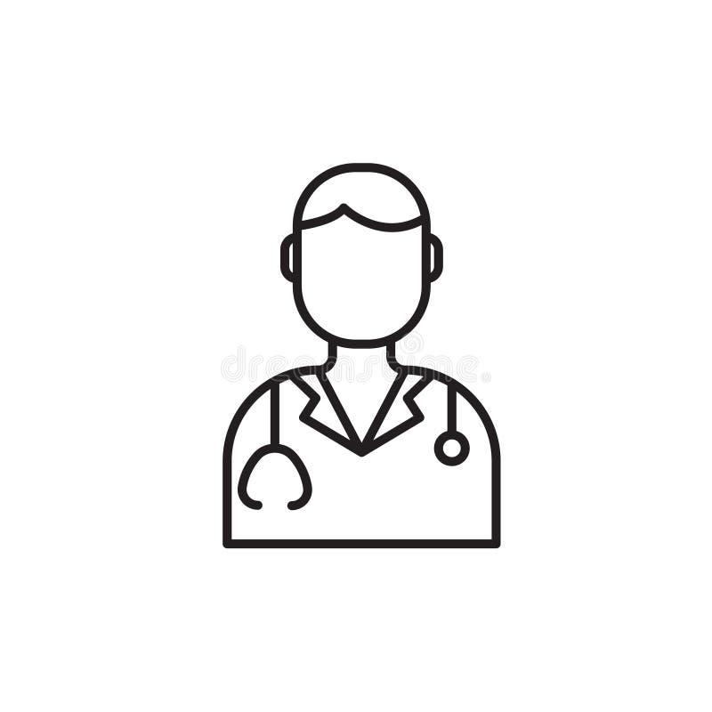 Linha médica moderna ícone de doutor Símbolo linear do dentista Logotipo da clínica do esboço para polyclinics Elemento do projet ilustração stock