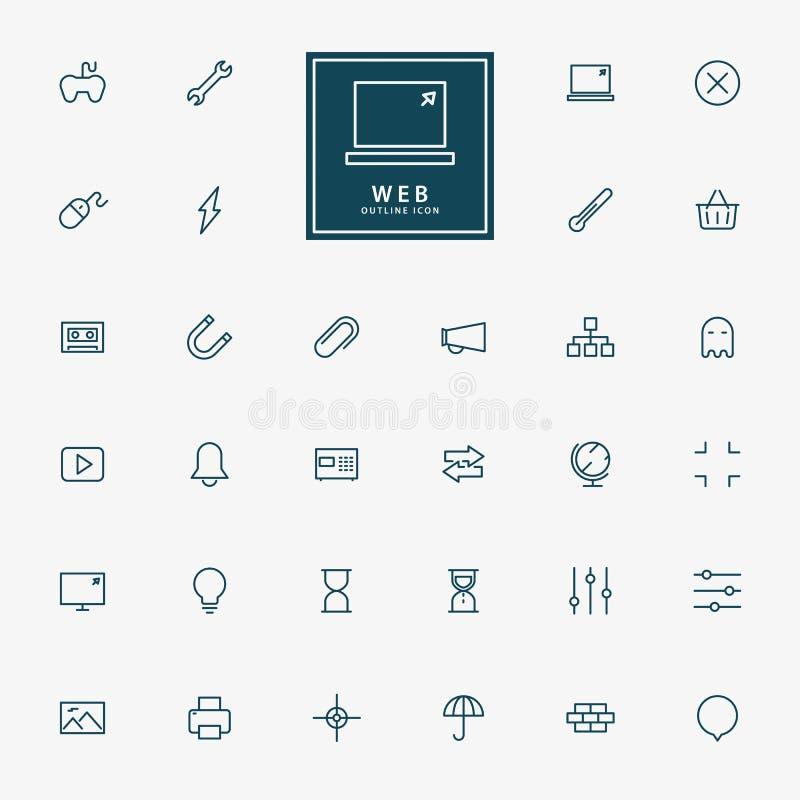 linha mínima ícones da Web 32 ilustração do vetor