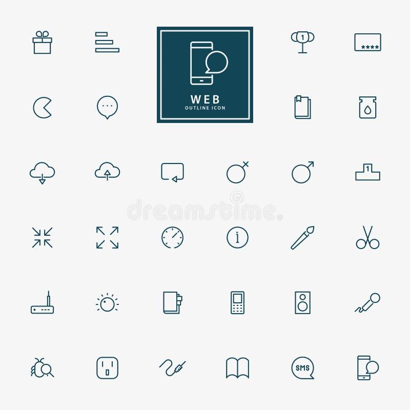 linha mínima ícones da Web 25 ilustração stock