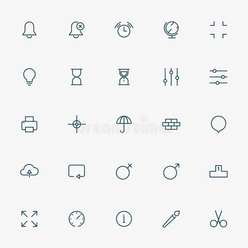 Linha mínima ícones da Web no fundo branco ilustração royalty free