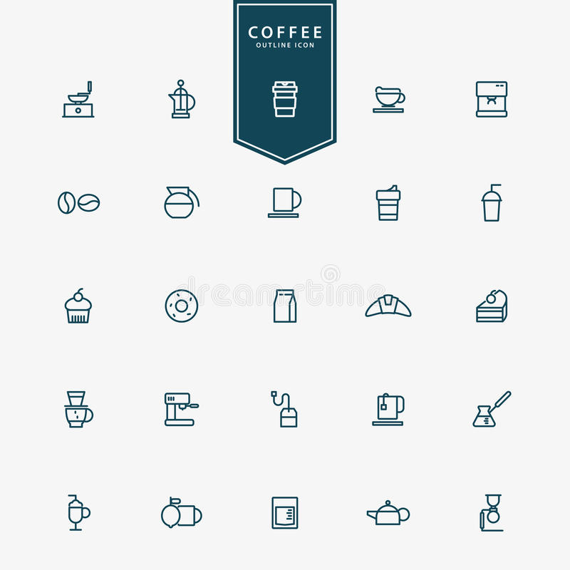 linha mínima ícones do café 25 ilustração royalty free