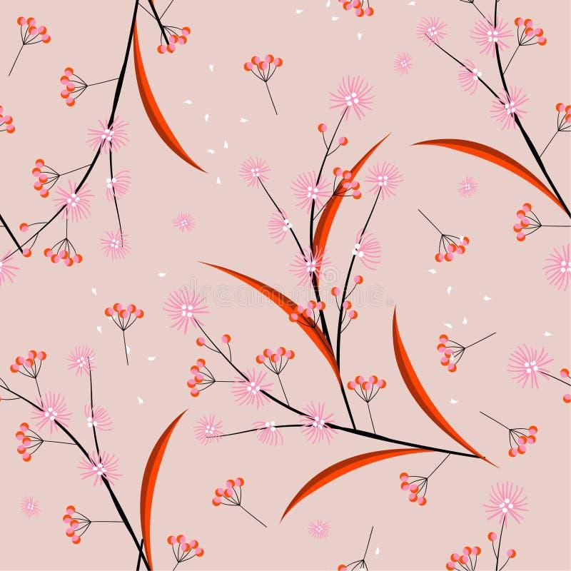 Linha mínima doce do humor e do tom e flores geométricas que fundem no teste padrão sem emenda do vento no projeto do vetor para  ilustração do vetor