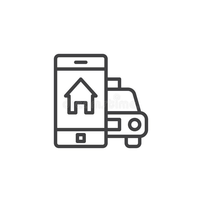 Linha móvel ícone do registro do táxi ilustração do vetor