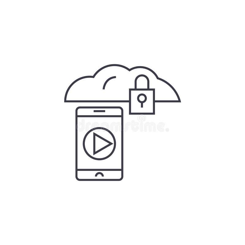 Linha móvel ícone do vetor do acesso, sinal, ilustração no fundo, cursos editáveis ilustração stock