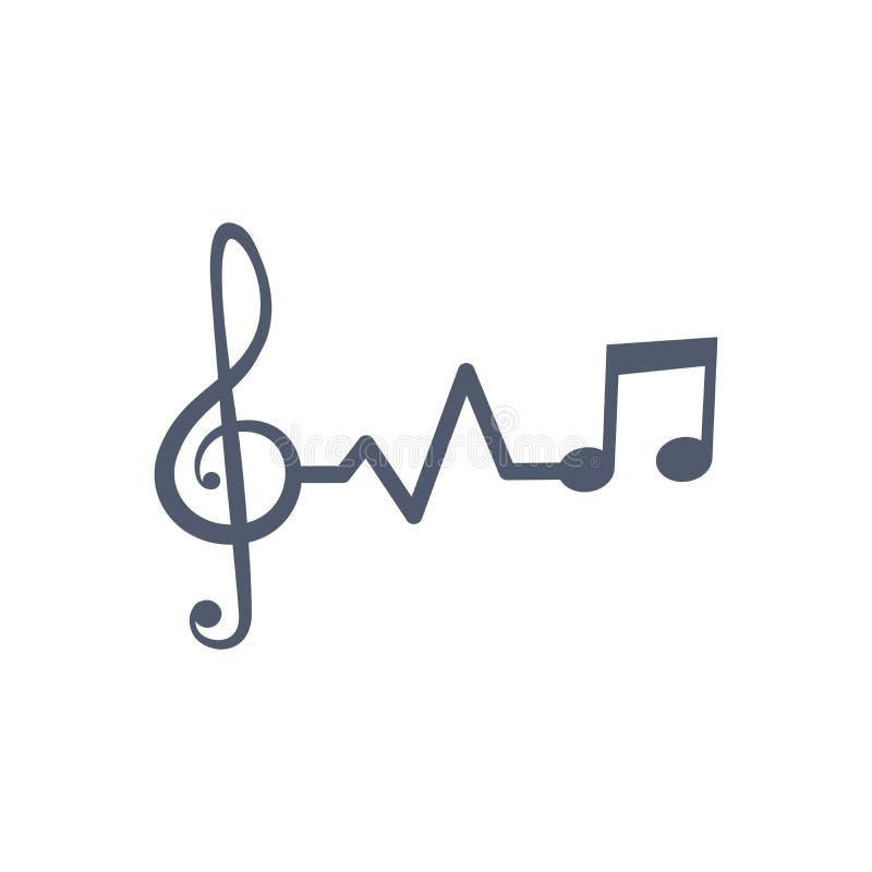 Linha música do pulso da pulsação do coração com notas e clave, ilustração do vctor isolada no fundo branco ilustração stock
