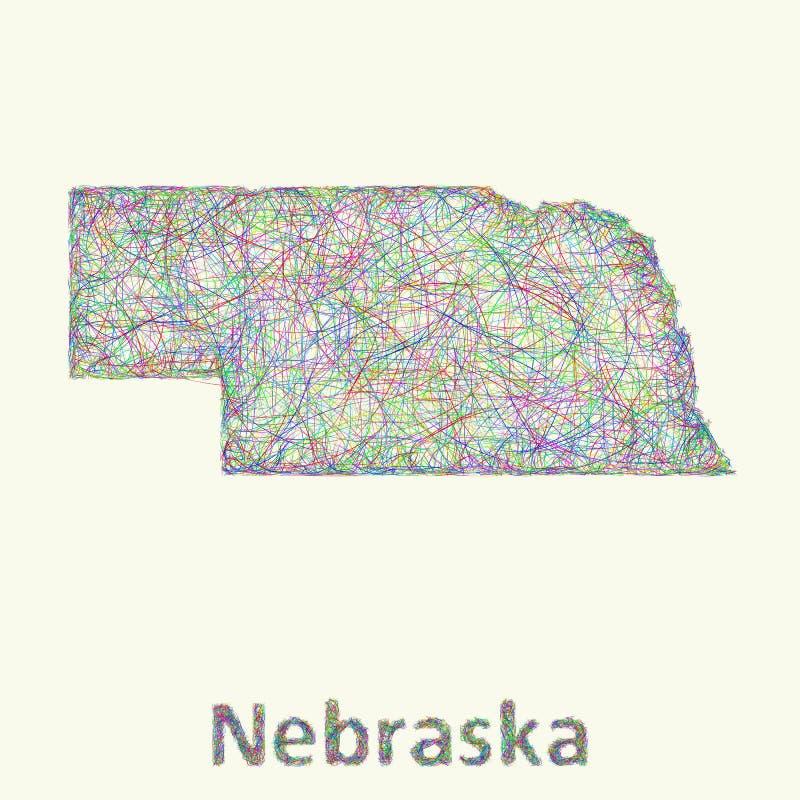 Linha mapa de Nebraska da arte ilustração royalty free