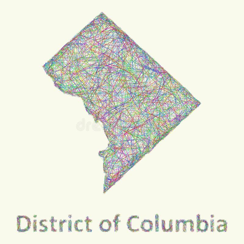 Linha mapa do distrito de Columbia da arte ilustração do vetor