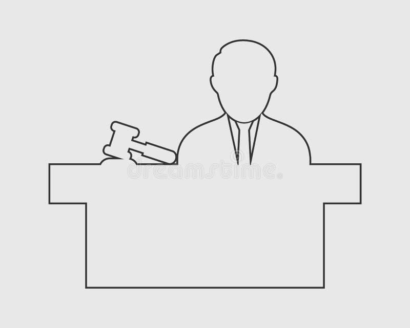 Linha masculina ícone do juiz ilustração royalty free
