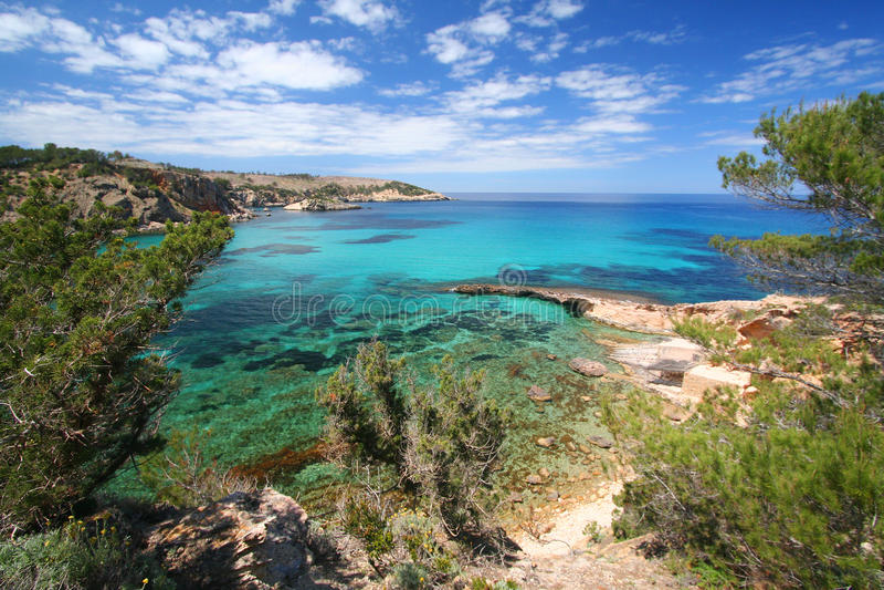 Linha mediterrânea da costa de Ibiza fotografia de stock royalty free