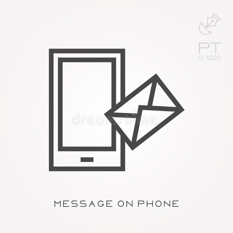 Linha mensagem do ícone no telefone ilustração royalty free