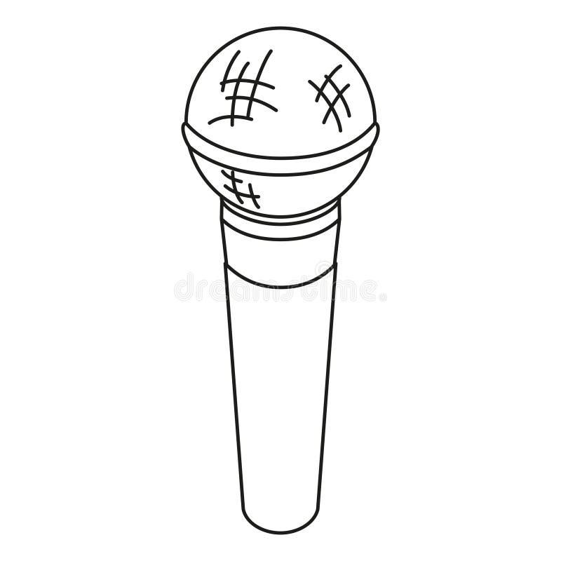 Linha microfone preto e branco da arte ilustração do vetor
