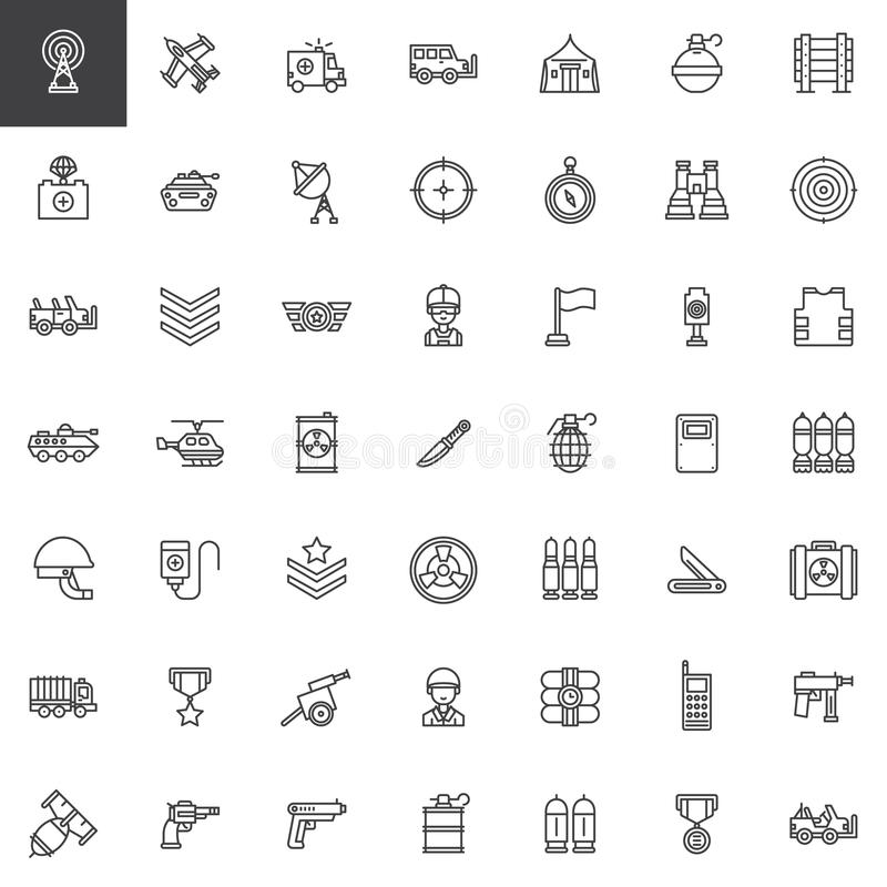 Linha militar ícones do equipamento ajustados ilustração do vetor