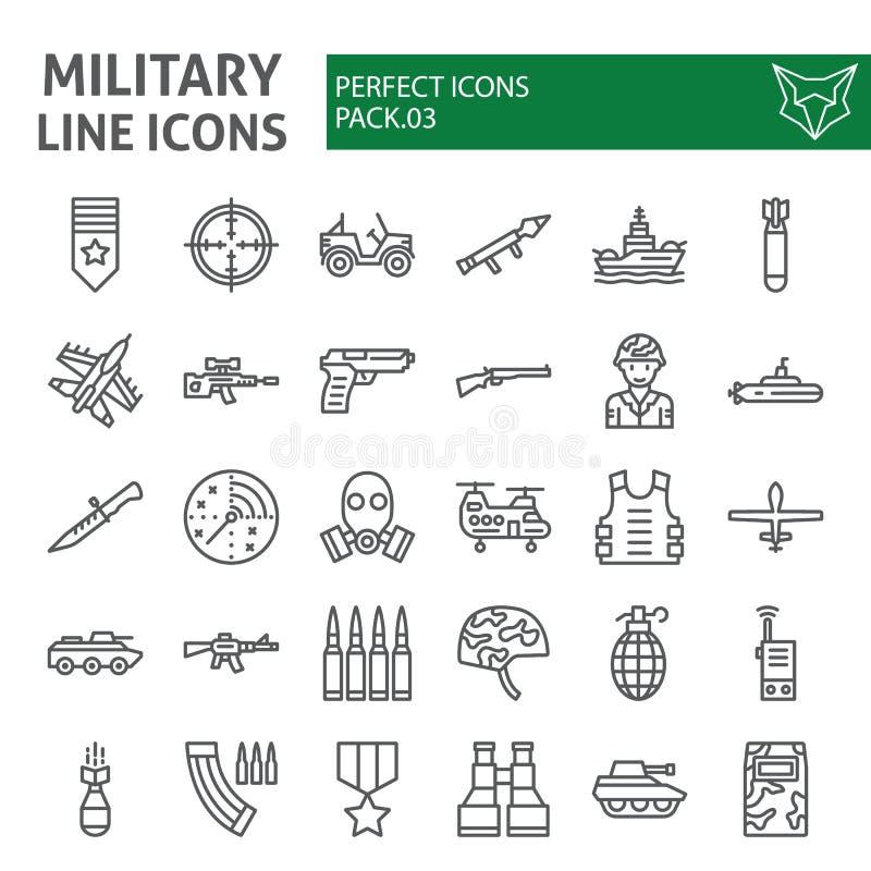 Linha militar grupo do ícone, símbolos coleção do exército, esboços do vetor, ilustrações do logotipo, pictograma lineares dos si ilustração stock