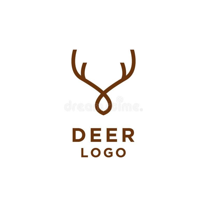Linha minimalista estilo do logotipo dos cervos ilustração do vetor