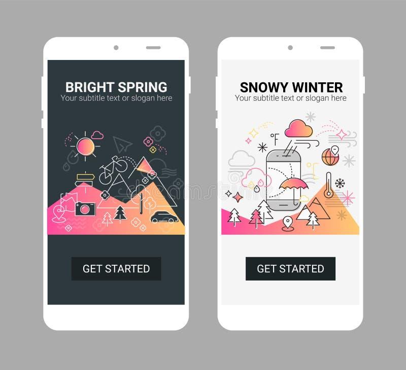 Linha modelo do tempo do móbil da tela do app do respingo da ilustração ilustração stock