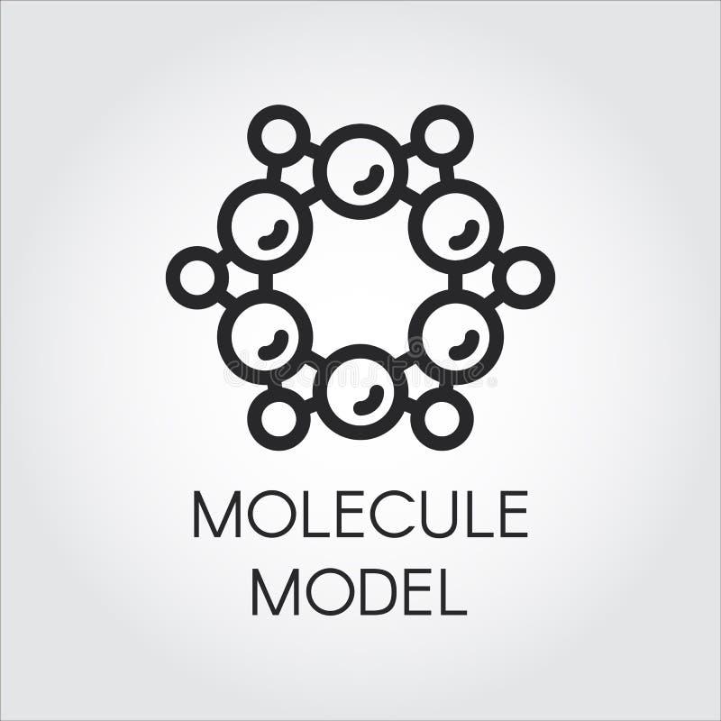 Linha modelo química ícone atômica e da molécula Etiqueta para projetos científicos, químicos, físicos, educacionais e outros ilustração royalty free
