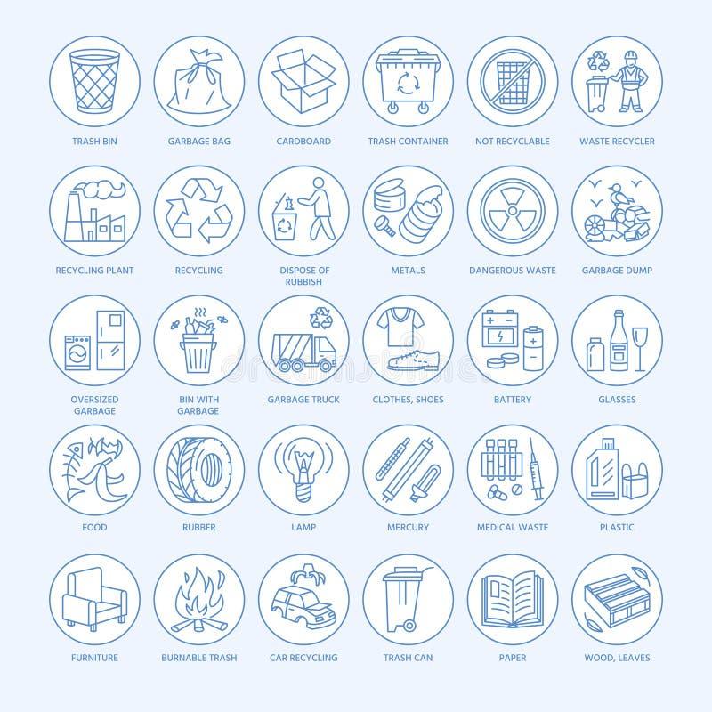 Linha moderna ícone do vetor da classificação waste, reciclando Recolha de lixo ilustração stock
