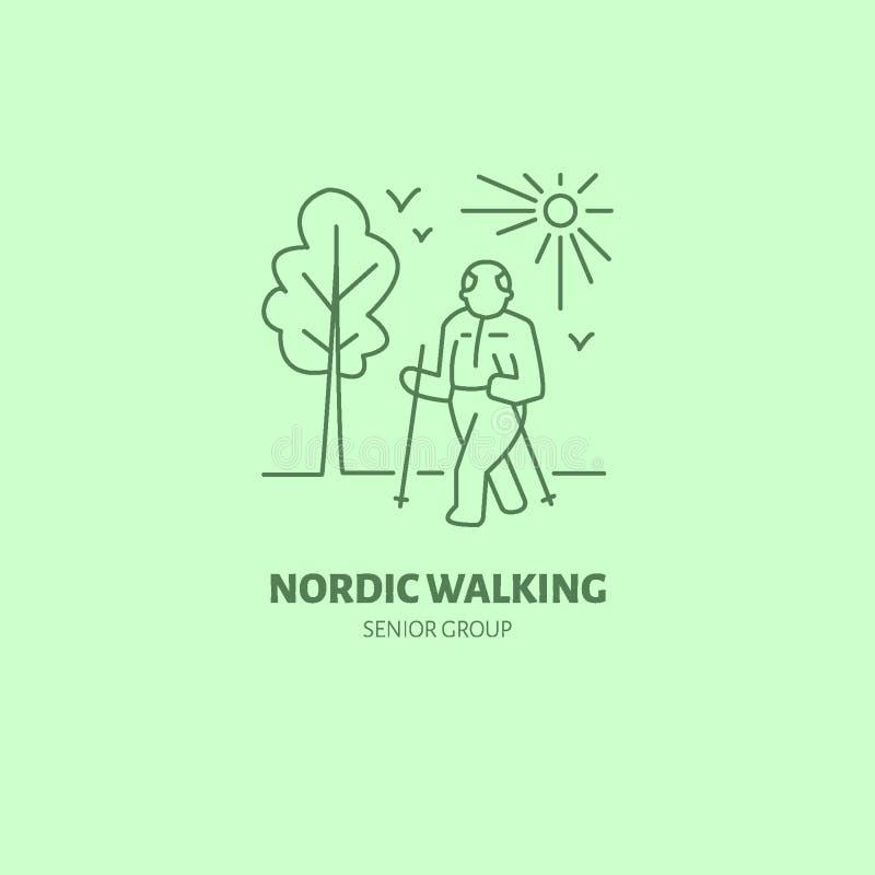 Linha moderna ícone do vetor de passeio nórdico Logotipo linear do grupo superior do esporte Símbolo do esboço para o lazer idoso ilustração do vetor