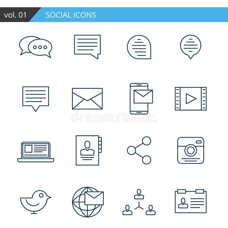 Linha moderna ícones ajustados do social Vetor superior da qualidade ilustração royalty free